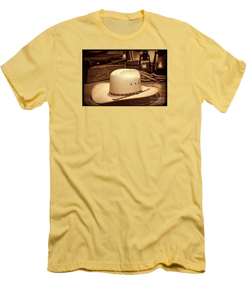 White Cowboy Hat In A Barn Men's T-Shirt (Slim Fit) by American West Legend By Olivier Le Queinec