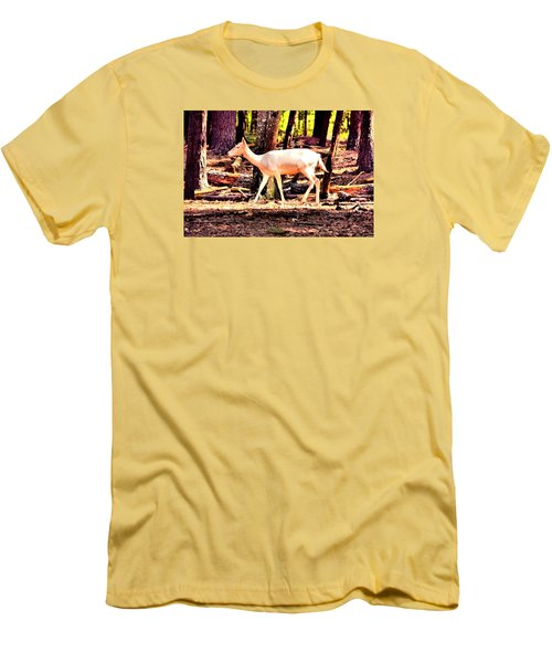 White Deer And Forest Stroll Men's T-Shirt (Slim Fit) by James Potts