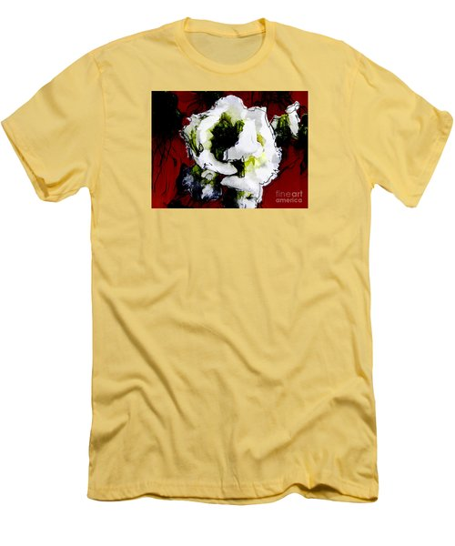 White Flower On Red Background Men's T-Shirt (Slim Fit) by Craig Walters