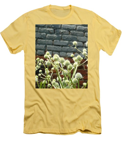 White Flowers And Bricks Men's T-Shirt (Athletic Fit)
