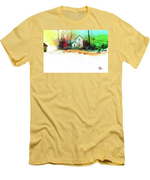Men's T-Shirt (Slim Fit) featuring the painting White Houses by Anil Nene