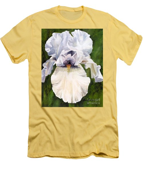 White Iris Men's T-Shirt (Slim Fit) by Laurie Rohner