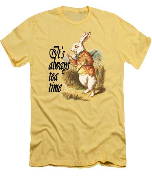 White Rabbit Alice In Wonderland Vintage Art Men's T-Shirt (Athletic Fit)