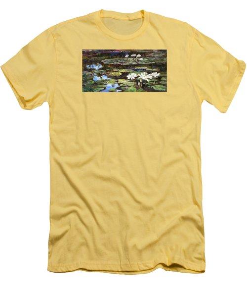 White Waterlilies In Tower Grove Park Men's T-Shirt (Slim Fit) by Irek Szelag