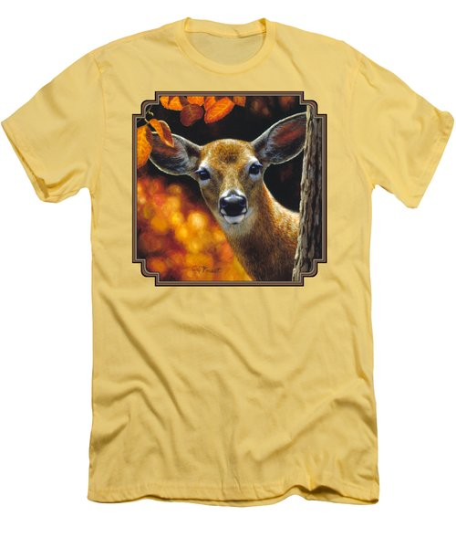 Whitetail Deer - Surprise Men's T-Shirt (Slim Fit) by Crista Forest
