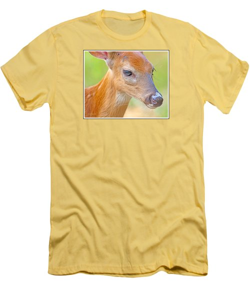 Men's T-Shirt (Slim Fit) featuring the photograph Whitetailed Deer Fawn Portrait by A Gurmankin