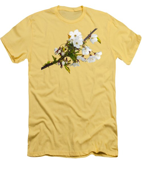 Wild Cherry Blossom Cluster Men's T-Shirt (Slim Fit) by Jane McIlroy