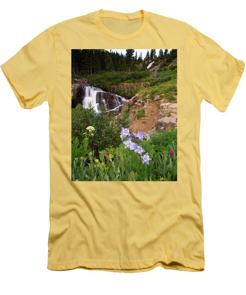 Men's T-Shirt (Slim Fit) featuring the photograph Wild Flowers And Waterfalls by Steve Stuller