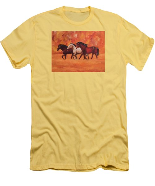 Men's T-Shirt (Slim Fit) featuring the painting Wild Horses by Ellen Canfield