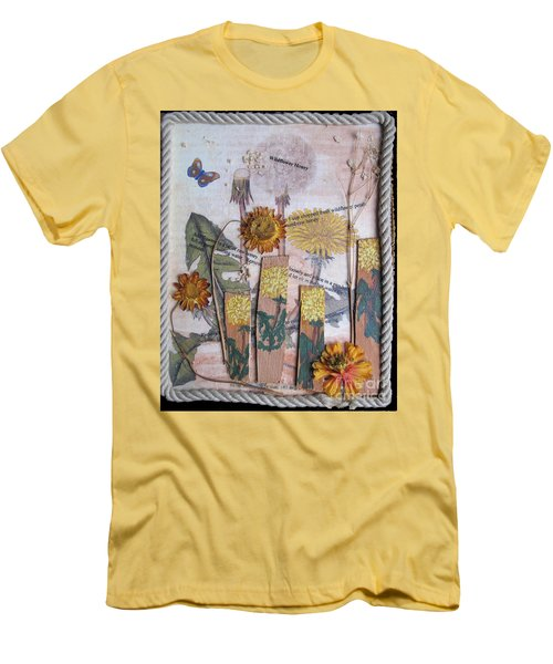 Men's T-Shirt (Slim Fit) featuring the mixed media Wildflower Honey by Sandy McIntire