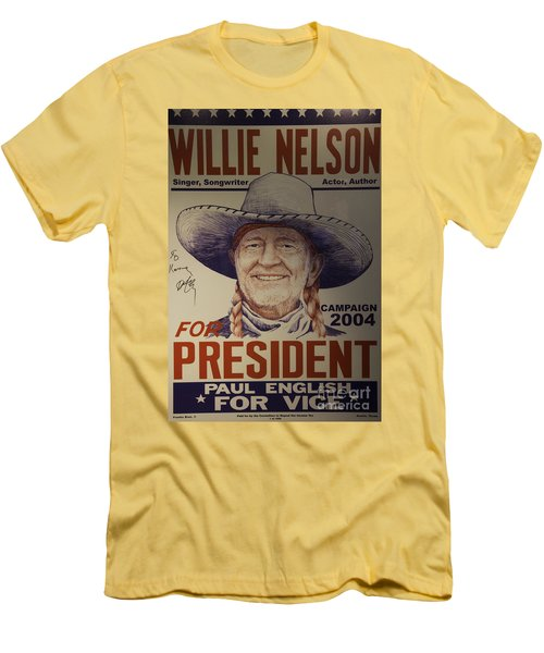 Willie For President Men's T-Shirt (Slim Fit) by Bob Hislop