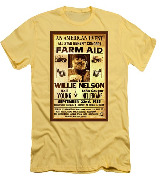 Willie Nelson 1985 Vintage Farm Aid Poster Men's T-Shirt (Athletic Fit)