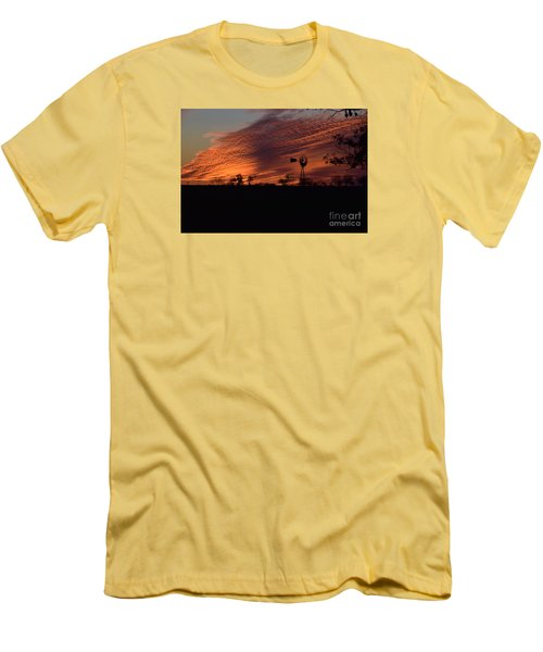 Windmill At Sunset Men's T-Shirt (Slim Fit) by Mark McReynolds