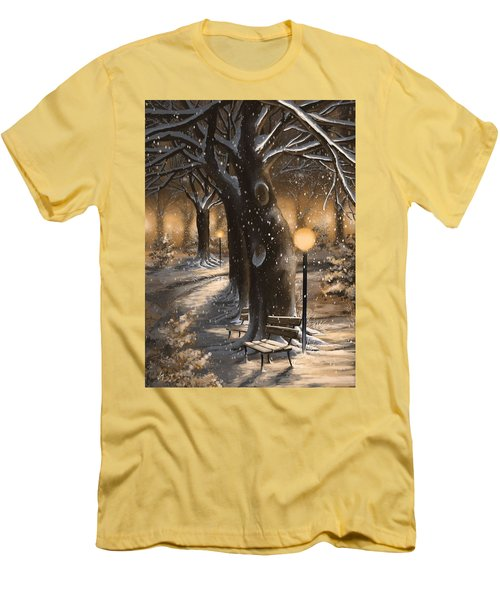 Men's T-Shirt (Slim Fit) featuring the painting Winter Magic by Veronica Minozzi