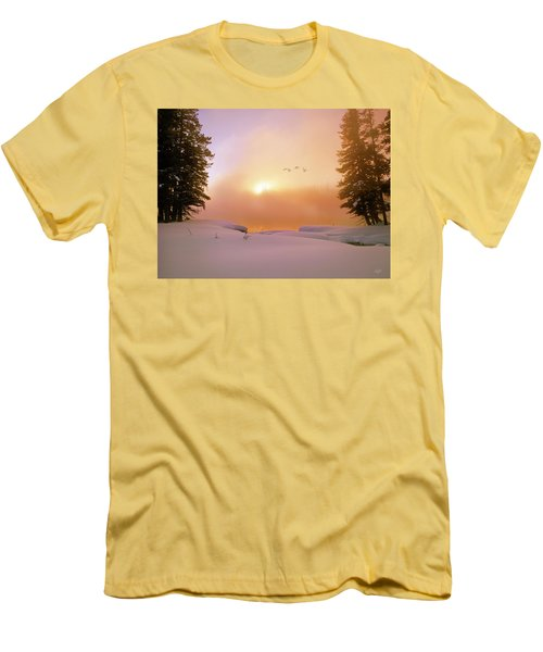 Men's T-Shirt (Slim Fit) featuring the photograph Winter Swans by Leland D Howard