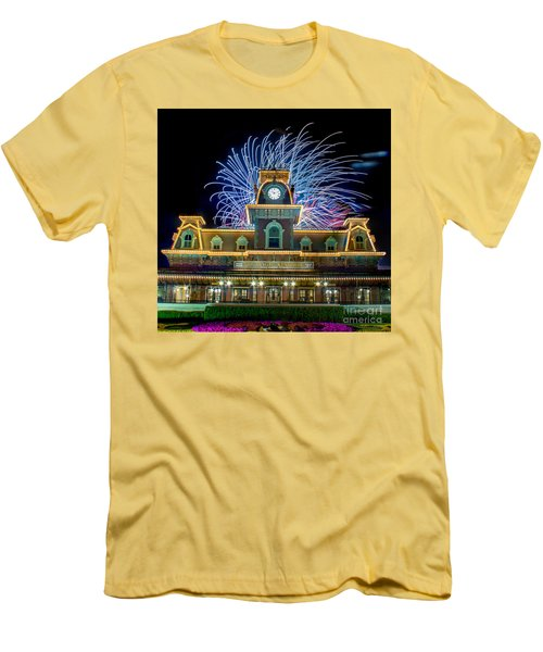 Wishes Over Magic Kingdom Train Station. Men's T-Shirt (Athletic Fit)