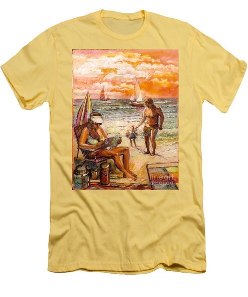 Woman Reading On The Beach Men's T-Shirt (Athletic Fit)