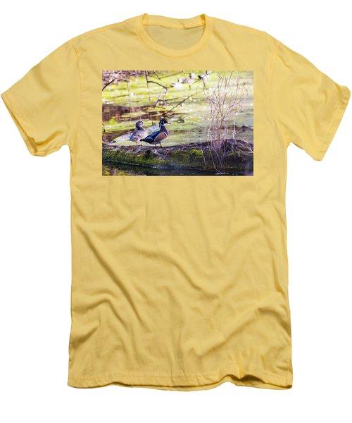 Wood Duck Couple Men's T-Shirt (Slim Fit) by Edward Peterson