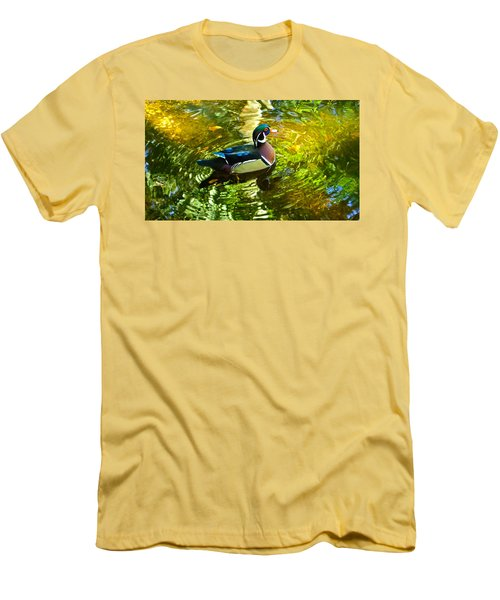 Wood Duck In Lights Men's T-Shirt (Athletic Fit)