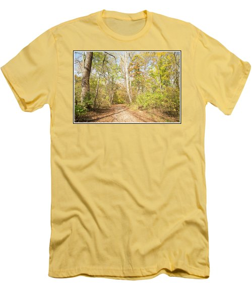 Woodland Path, Autumn, Montgomery County, Pennsylvania Men's T-Shirt (Slim Fit) by A Gurmankin