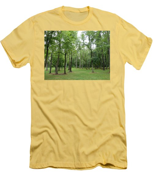 Men's T-Shirt (Slim Fit) featuring the photograph Woods At Lake Redman by Donald C Morgan