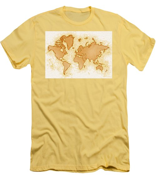 World Map Airy In Brown And White Men's T-Shirt (Athletic Fit)