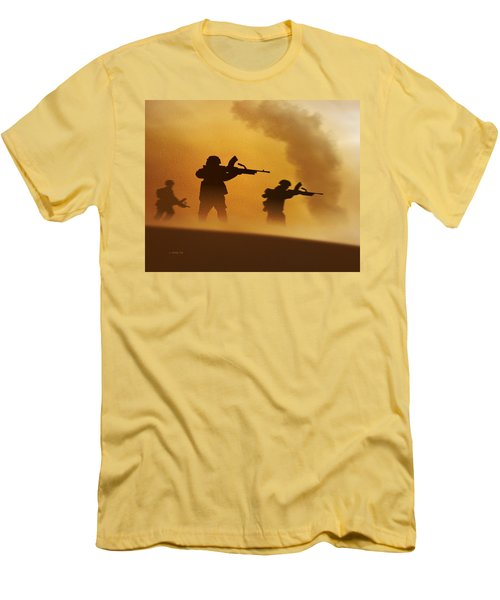 Ww2 British Soldiers On The Attack Men's T-Shirt (Slim Fit) by John Wills
