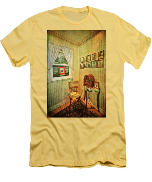 Men's T-Shirt (Athletic Fit) featuring the photograph Wwii Era Room by Lewis Mann