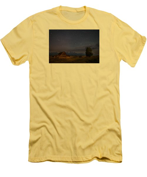 Wyoming Countryside At Night Men's T-Shirt (Slim Fit) by Serge Skiba