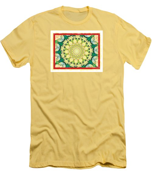 Men's T-Shirt (Slim Fit) featuring the photograph Yellow Floral Medallion by Shirley Moravec