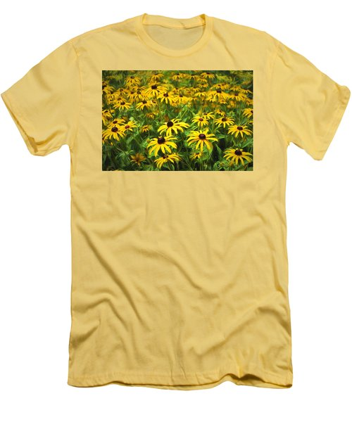 Yellow Painted Petals Men's T-Shirt (Slim Fit) by Terry Cork