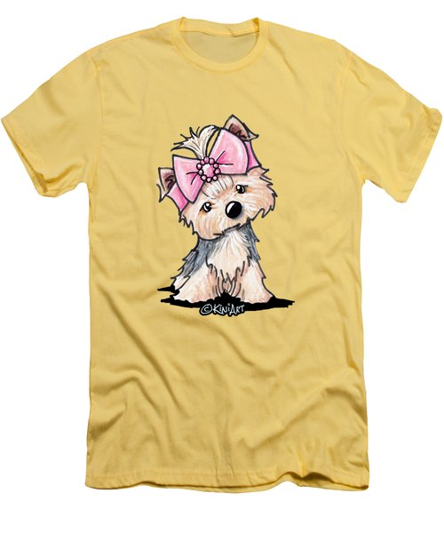 Yorkie In Bow Men's T-Shirt (Slim Fit)