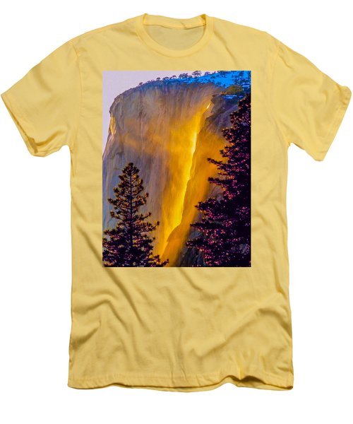 Yosemite Firefall Painting Men's T-Shirt (Slim Fit) by Dr Bob Johnston