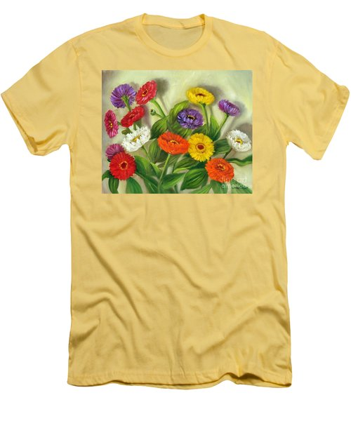 Men's T-Shirt (Slim Fit) featuring the painting Zinnias by Randol Burns