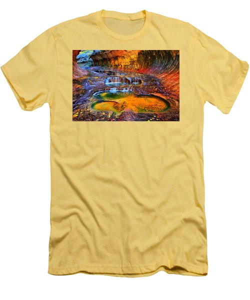 Zion Subway Falls Men's T-Shirt (Slim Fit) by Greg Norrell