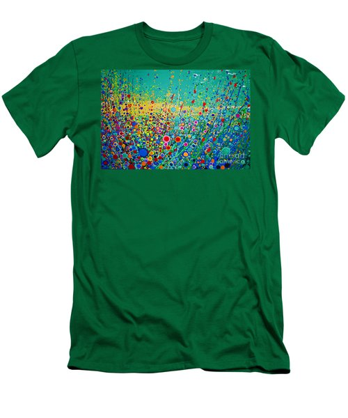 Men's T-Shirt (Slim Fit) featuring the painting  Colorful Flowerscape by Maja Sokolowska