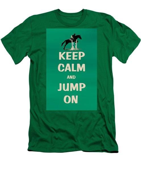 Keep Calm And Jump On Horse Men's T-Shirt (Slim Fit) by Patricia Barmatz