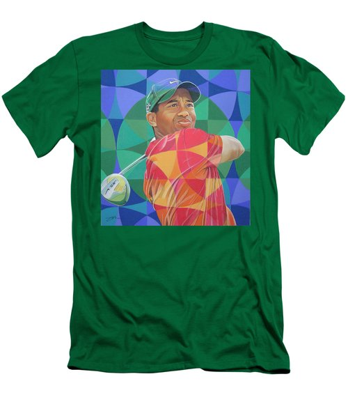 Men's T-Shirt (Slim Fit) featuring the drawing Tiger Woods by Joshua Morton