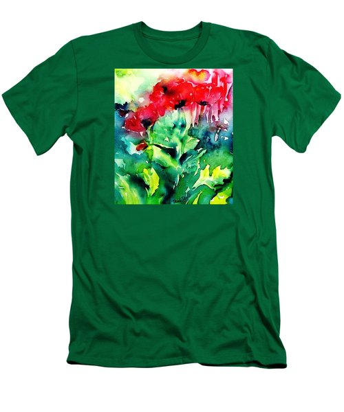 A Haze Of Poppies Men's T-Shirt (Slim Fit) by Trudi Doyle