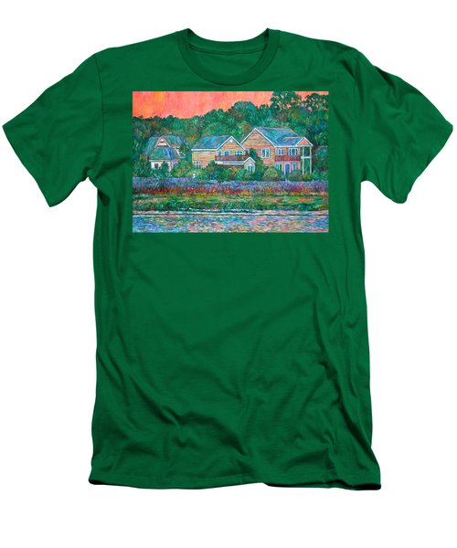 Men's T-Shirt (Slim Fit) featuring the painting Across The Marsh At Pawleys Island       by Kendall Kessler