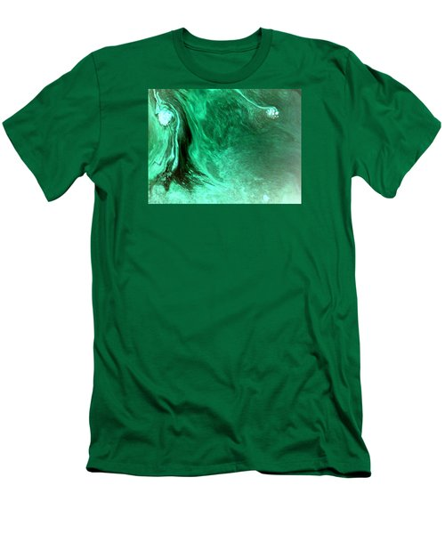 Men's T-Shirt (Slim Fit) featuring the mixed media Aqua Tree by Salman Ravish
