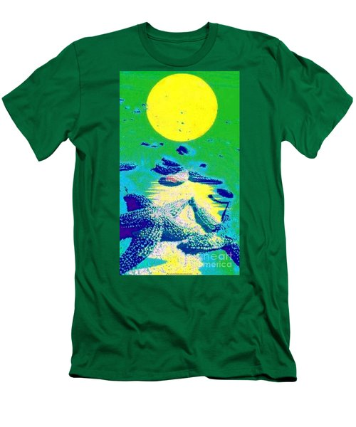 Blue Starfish Yellow Moon Men's T-Shirt (Slim Fit)