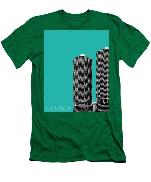 Chicago Skyline Marina Towers - Teal Men's T-Shirt (Athletic Fit)