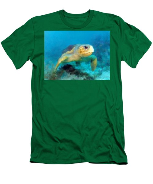 Curious Sea Turtle Men's T-Shirt (Slim Fit) by David  Van Hulst