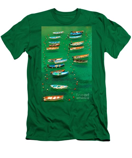 Fishing Boats In Vernazza Men's T-Shirt (Slim Fit) by David Smith