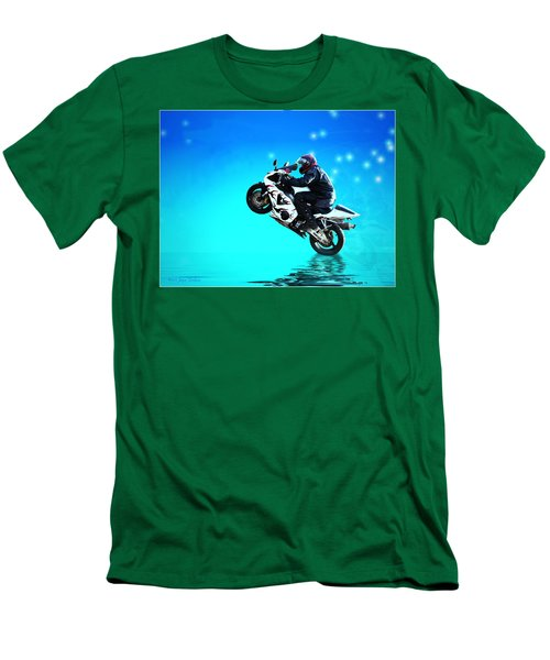Men's T-Shirt (Slim Fit) featuring the photograph Flying Low One More Time On Two Wheels by Joyce Dickens