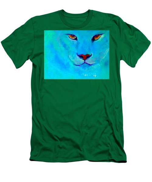 Funky Snow Leopard Turquoise Men's T-Shirt (Athletic Fit)