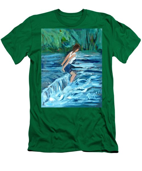 Men's T-Shirt (Slim Fit) featuring the painting Girl Bathing In River Rapids by Betty Pieper