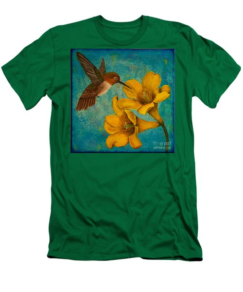 Hummingbird With Yellow Jasmine Men's T-Shirt (Athletic Fit)