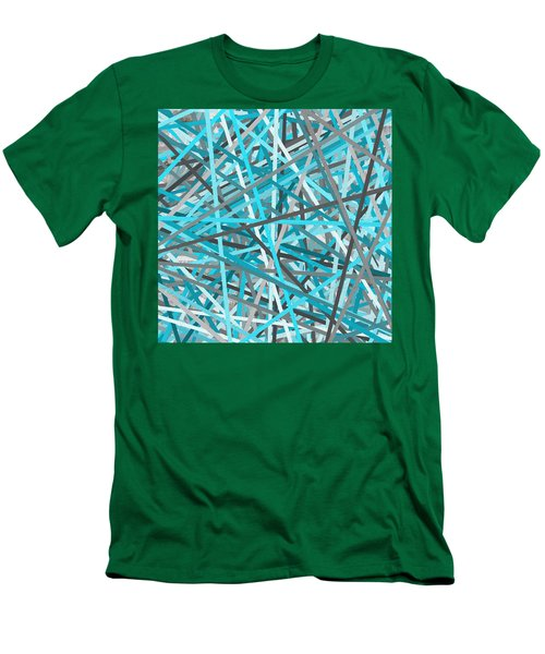Link - Turquoise And Gray Abstract Men's T-Shirt (Athletic Fit)